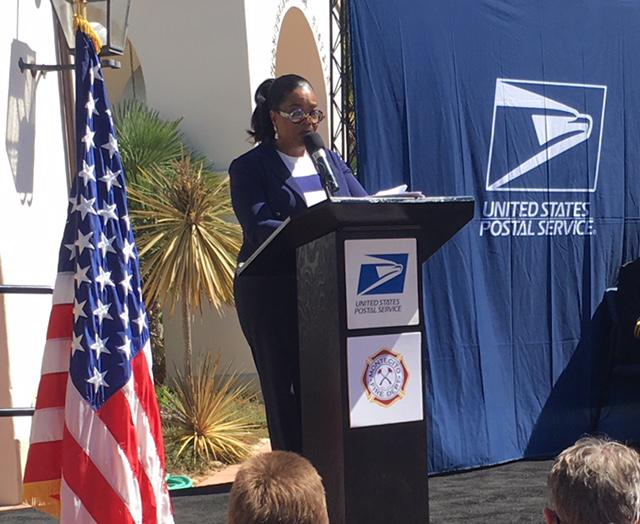 Oprah Winfrey at September 14th event in Montecito hnoring first responders with a new postage stamp