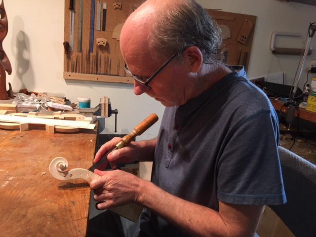 Violin maker Brian Lisus at work in his Ojai Valley studio.