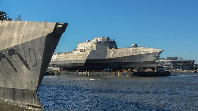 One of the new generation of small U.S. Navy combat ships being built in Alabama