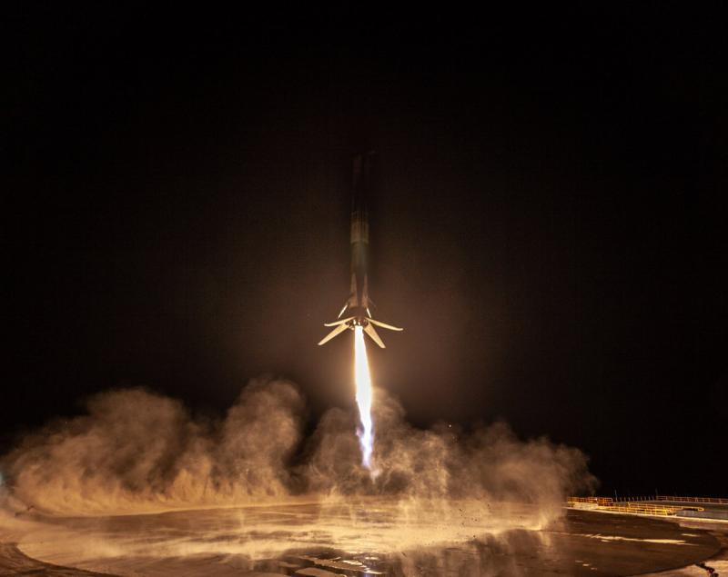 A SpaceX Falcon 9 booster makes its first ever landing at Vandenberg Air Force Base Sunday night after putting a satellite into orbit