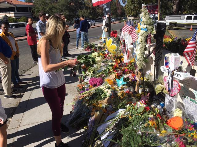 The impromptu memorial in Thousand Oaks for the Borderline Bar and Grill victims