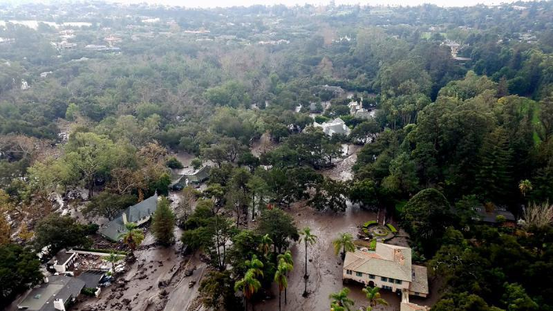 Photo of Montecito damage from Santa Barbara County Air Support Unit's Fire Copter 308