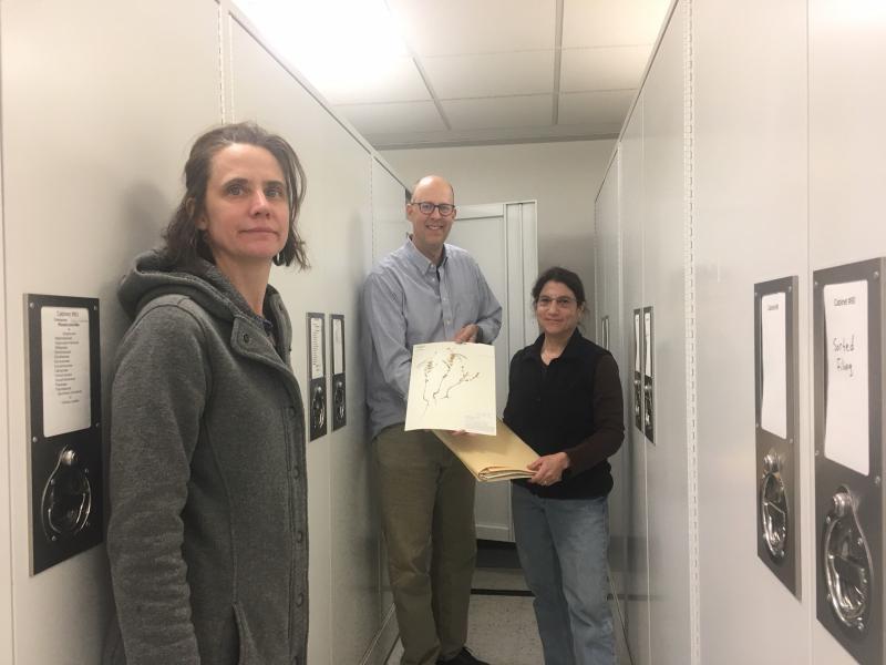 UCSB researchers Katja Seltmann, Greg Wahlert and Susan Mazer inside the Herbarium