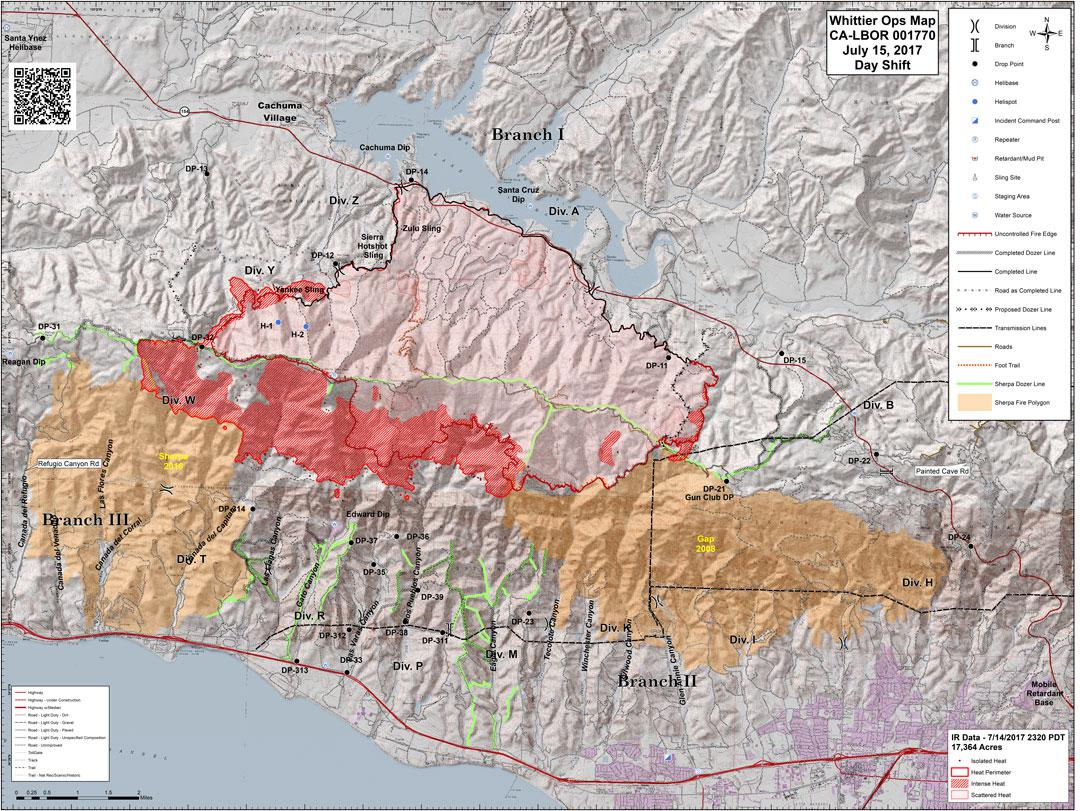 New Map Released Saturday Showing Whittier Fire Boundaries | KCLU