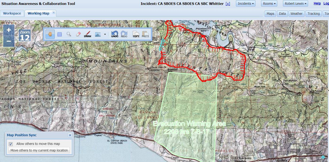 map of whittier fire burn area areas of concern as of  pm saturday. map shows whittier fire burn area areas of concern  kclu