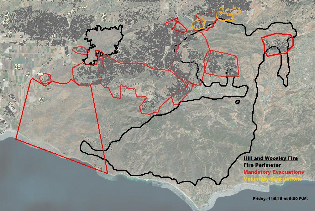 Map Shows Boundaries Of Woolsey, Hill Brush Fires And Evacuation