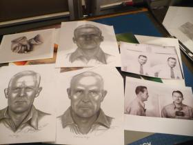 Artist Lee Hammond's age progression sketches commissioned by America's Most Wanted of Alcatraz prisoners.