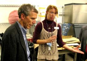 Melissa Barton, a UMKC food service manager, gives student union kitchen tour to EPA Regional Administrator Karl Brooks.