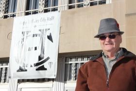 Historian Bill Worley outside City Hall, December 2012.