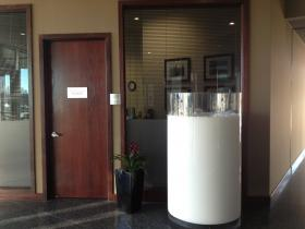 This five-foot plexiglass piece of art, resembling a freshly poured glass of milk, sits near the door to the headquarters of the Dairy Farmers of America, in Kansas City, Mo.