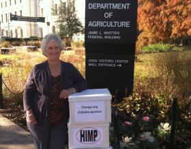 Retired federal chicken inspector Phyllis McKelvey worked with Change.org and Whistleblower.org to gather signatures on a petition opposing the proposed new poultry slaughter rule. She delivered over 177,000 signatures to the U.S. Department of Agriculture office in Washington, D.C. last fall.