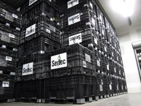 Not all seed comes in bags. These reinforced plastic boxes are filled with seed and nearly reach the ceiling at the Seitec facility.