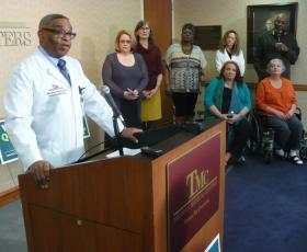 Dr. Shadrach Smith, an internal medicine physician at Truman Medical Center, spoke in support of renewing the city health levy at Monday's campaign kickoff.