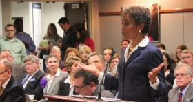 KU Chancellor Bernadette Gray-Little speaking to the Board of Regents about the cuts Wednesday.