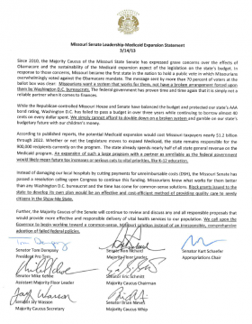 Leaders of the Missouri Senate recently issued the following statement, reiterating their opposition to a Medicaid expansion.