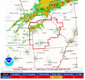 A tornado watch was issued Wednesday morning for eastern Kansas and most of Missouri.