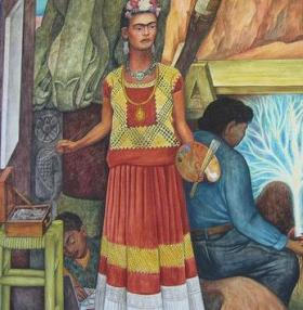 Frida Kahlo is part of in Diego Rivera's mural 'Panamerican Unity' at San Francisco City College.