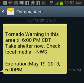 Cell phone alert for tornado warning in Lyon County, Kan. on May 19, 2013.