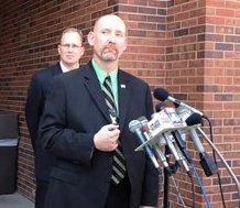 Franklin County, KS., Prosecutor Stephen Hunting at left, Sheriff Jeff Richards speak of missing child, now feared dead.