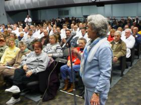 More than 100 residents, most opposing  a possible sale of North Kansas City Hospital, attended a town hall regarding the hospital in February.
