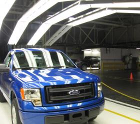 The  well-selling Ford F-150 truck, one here on the assembly line at Claycomo, MO.