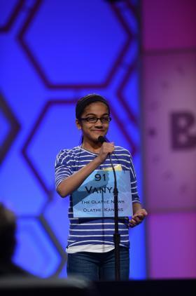 Vanya Shivashankar, 11, of Olathe, Kan., competes at the 2013 Scripps National Spelling Bee in Washington, D.C.