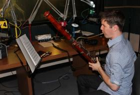 The Kansas City Symphony's Miles Maner plays an excerpt from a Saint-Saëns piece in the KCUR studios.