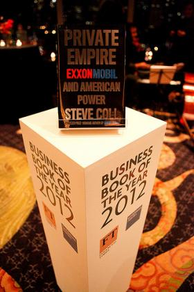 Steve Coll's 'Private Empire: ExxonMobil and American Power' wins the 2012 Financial Times and Goldman Sachs Business Book of the Year.