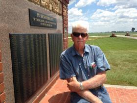 Hardin Cemetery caretaker, Stephen Shirley, at the memorial site.
