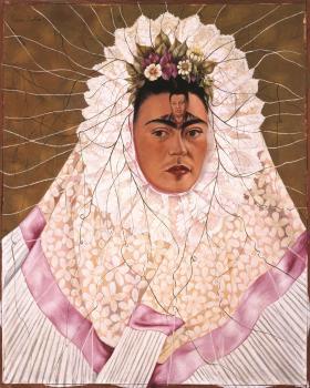 Frida Kahlo (Mexican, 1907–1954). Diego en mi pensamiento (Diego on My Mind), 1943. Oil on Masonite, 29 7/8 x 24 inches.