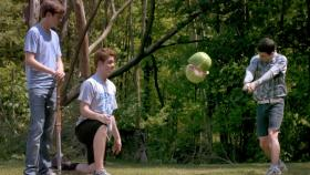 The boys vanquish a watermelon in 'The Kings of Summer.'