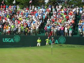 Fans pack the stands at the US Senior Open in Omaha, Neb.
