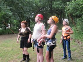 Camp Quest campers take on high ropes course.