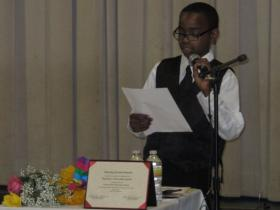 Tre'Veon Gilyard addresses the crowd at Gordon Parks Elementary on behalf of his fifth-grade class during the graduation ceremony.