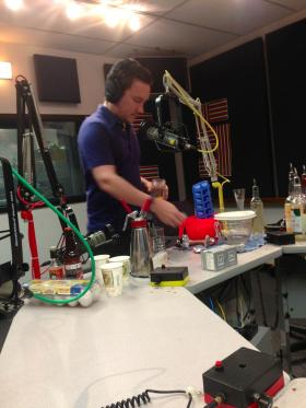 Scott Tipton of the Kill Devil Club in Kansas City prepares cocktails in studio using molecular mixology.