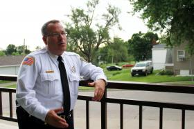 Nodaway County Sheriff Darren White outside the jail in Maryville, Mo