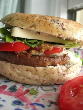 This soy burger looks delicious.