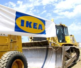 Earth-moving equipment was more than window dressing at  IKEA's newest job site in Merriam, KS.