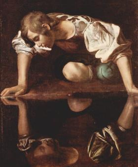 This is a painting of the most famous narcissist, Narcissus by Michelangelo Caravaggio