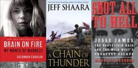 Susannah Cahalan, Jeff Shaara and Mark Lee Gardener's books are all on Steve's Bookshelf.