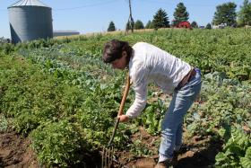 Danelle Myer grew up on a conventional farm, but now runs a small, local vegetable farm outside Logan, Iowa.