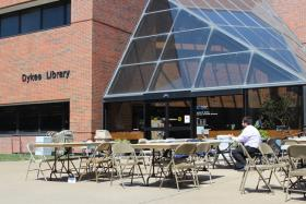 Until recently, Dykes Library hosted rotating exhibitions, but the program is now closed. On Monday, the last day of Hawk Week, rows of tables were set up for an event for students.