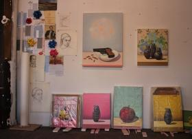 Paintings in Tom Gregg's studio in the West Bottoms.