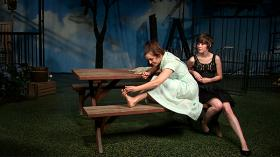 In this scene from 'Picnic,' Emily Peterson as Madge (from left) and Alisa Lynn as Millie are sisters preparing for a gathering.