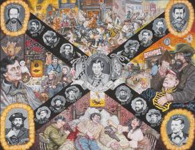 The Ballad of Quantrill's Raiders, 1992, acrylic on Masonite™ laid on ground cloth.