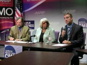 Against the veto override: (left to right) REDiscover CEO Alan Flory, AARP Advocacy Director Norma Collins, Independence Schools Superintendent Dale Herl.