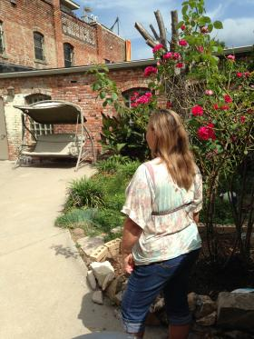 Christy Childs in the small courtyard outside Veronica's Voice.