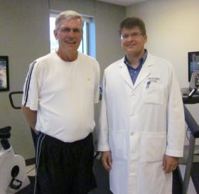 Study volunteer Joe Gittemeier and KU Med neurology professor Jeffrey Burns.