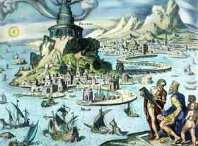 Pharos of Alexandria depicted in a fanciful hand-colored engraving by Martin Heemskerck.