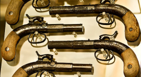 Firearms recovered from the steamboat Arabia on display in the museum.
